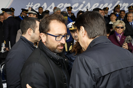 Rome, Italy - 10 April 2019: Justice Minister Alfonso Bonafede (left), talking with Giuseppe Conte, during the celebrations for the 167th anniversary of the State Police. 報道画像