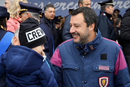 Rome, Italy - 10 April 2019: Interior Minister Matteo Salvini with a grandfather and his child, among the crowds of supporters, during the 167th anniversary of the State Police. Standard-Bild - 122153221