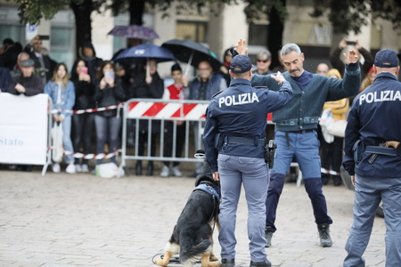 Rome, Italy - April 14, 2019: Piazza San Giovanni Bosco, dogs from the canine department simulate an arrest, during a practical exercise with dogs, in front of the public in the square. Standard-Bild - 122153358