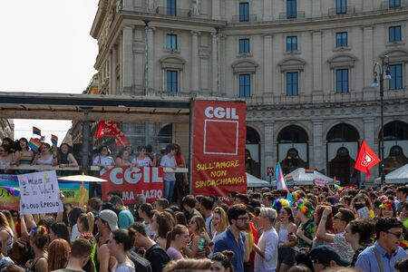Rome, Italy - June 8, 2019: Gay Pride, public manifestation of gay pride. The wagon of the CGL workers' union took to the streets among the crowd of protesters in favor of the recognition of rights for homosexuals.