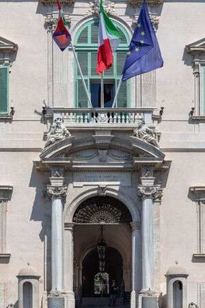 Rome, Italy - August 22, 2019: Quirinale, main entrance of the building, institutional seat of the President of the Italian Republic.