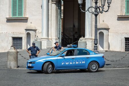 Rome, Italy - August 22, 2019: Quirinale, main entrance of the building, institutional seat of the President of the Italian Republic. The police preside over the building.