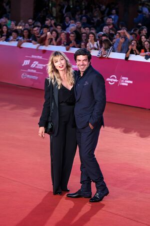 Rome Italy. 26 October 2019. Pierfrancesco Favino and his wife Anna Ferzetti on the red carpet of the 14th Rome Film Festival.
