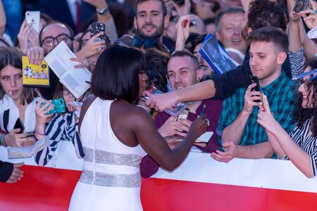 Rome Italy. 26 October 2019. Viola Davis with the fans on the red carpet of the 14th Rome Film Festival before her close encounter.