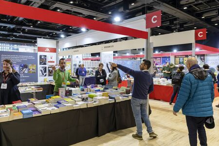 Rome, Italy - December 5, 2019: The public and exhibition stands at the small and medium publishing fair