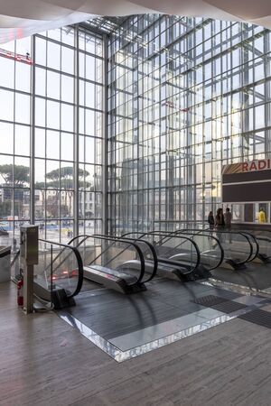 Rome, Italy - December 5, 2019: Convention Center - La Nuvola. Main entrance of the building taken up during the small and medium publishing fair. Editöryel