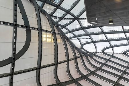 Rome, Italy - December 5, 2019: Convention Center - La Nuvola. Interior of the steel structure that makes up part of the building and the so-called cloud.