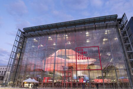 Rome, Italy - December 5, 2019: Convention Center - La Nuvola. External fa?ade of the building taken during the small and medium publishing fair.