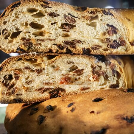 Franciscan loaf, typical dessert of Assisi, Italy. It is prepared with sultanas and almonds. The traditional bread of the tradition was prepared already in the medieval period on the occasion of the main religious celebrations.
