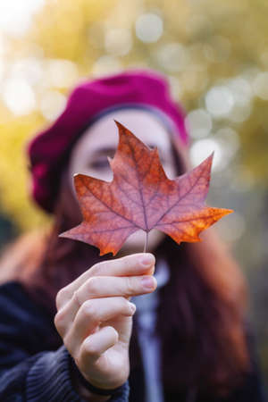 Girl in the red cap offers a dry autumn leaf.