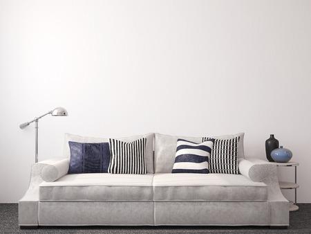 pokoj: Moderní obývací pokoj interiér s pohovkou nedaleko prázdné bílé zdi. 3d render.
