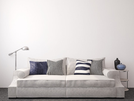 room decoration: Modern living-room interior with couch near empty white wall. 3d render.