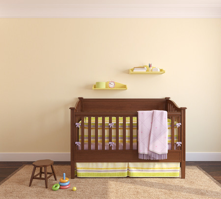 Beautiful interior of nursery with crib near yellow wall. Frontal view. 3d render. photo