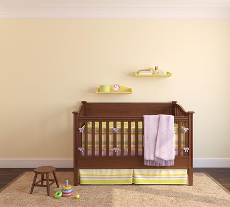 ecole maternelle: Belle int�rieur de p�pini�re avec lit pr�s mur jaune. Vue frontale. 3d render. Banque d'images