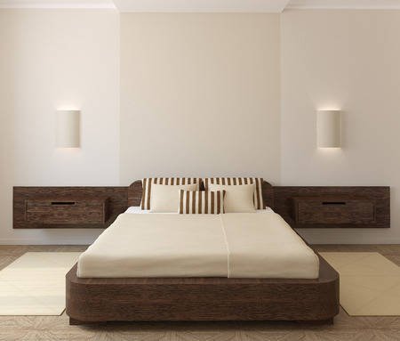 case moderne: Interno della camera da letto moderna. Rendering 3D.