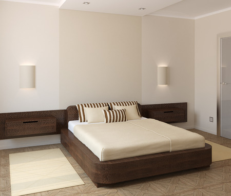 3d bedroom: Interior of modern bedroom. 3d render. Stock Photo