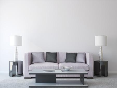 Moderne woonkamer interieur met bank. 3d render.