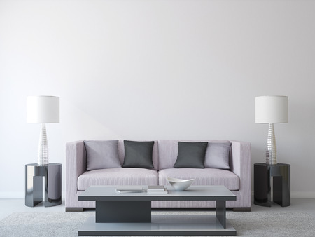 Modern living-room interior with couch. 3d render.