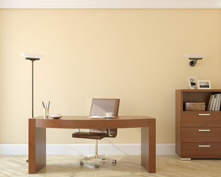 study table: Modern office interior.3d render. Stock Photo