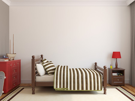 3d bedroom: Bedroom for boy. Frontal view. 3d render.