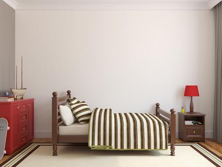 Slaapkamer voor jongen. Vooraanzicht. 3d render.