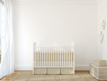 Interior of nursery with vintage crib. 3d render. Photo behind the window was made by me.
