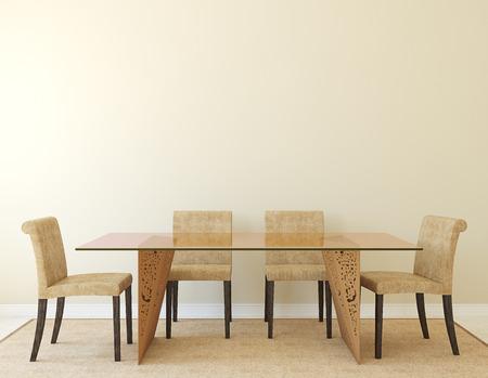 front room: Modern dining-room interior.3d render.