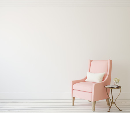 room decorations: Interior with pink armchair near white wall. 3d render. Stock Photo