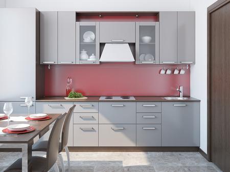 Modern gray  kitchen. 3d render.