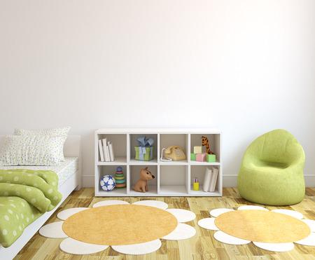 다채로운 놀이방 인테리어입니다. 3D 렌더링합니다. 스톡 콘텐츠