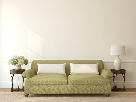 Klassieke woonkamer interieur met groene bank in de buurt van lege beige muur. 3d render. Stockfoto