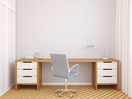 Modern home office interior. 3d render