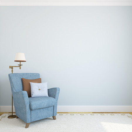 Modern interior with armchair.3d render. Foto de archivo