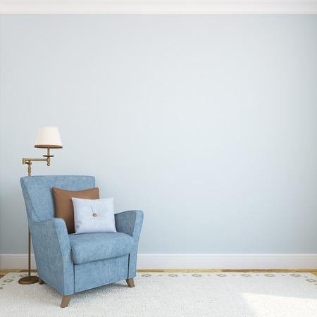 armchair: Modern interior with armchair.3d render. Stock Photo
