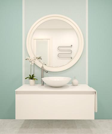 ターコイズ ブルーの壁とモダンなバスルームのインテリア。3 d のレンダリング。 写真素材