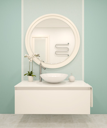 Modern bathroom interior with turquoise walls. 3d render.