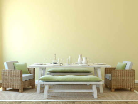 dining table: Modern dining-room interior. 3d render. Stock Photo