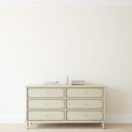 Interieur met dressoir in de buurt van lege beige muur. 3d render.