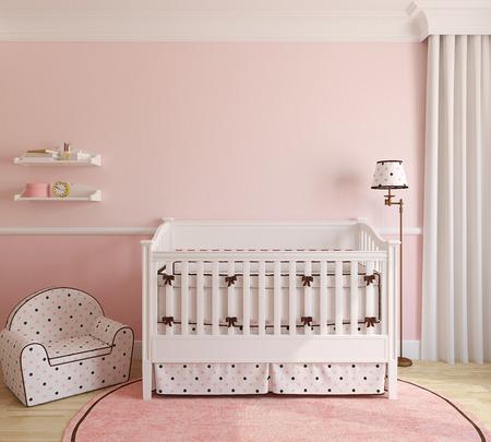 Interior of nursery for girl. 3d render.