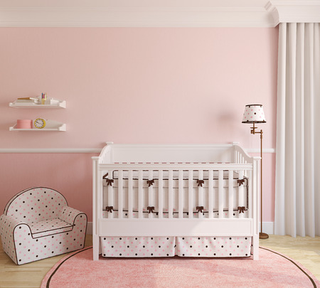 crib: Interior of nursery for girl. 3d render.