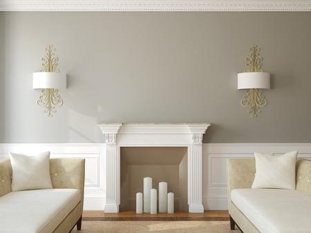 case moderne: Modern living-sala interna con camino. Rendering 3D.
