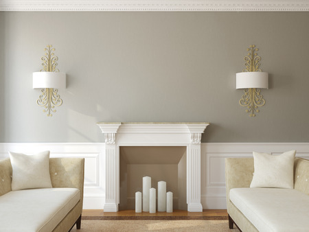 Modern living-room interior with fireplace. 3d render.