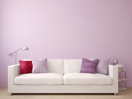 Modern living-room interior with white couch near empty violet wall. 3d render.