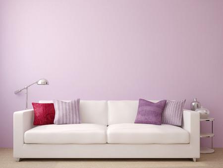 Moderne Wohnzimmer Interieur Mit Weißen Couch In Der Nähe Von Leere  Violetten Wand. 3D