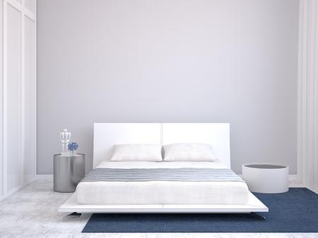 Moderne slaapkamer interieur. 3d render. Stockfoto