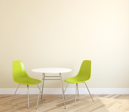 Interior with table and two green chairs near empty beige wall. 3d render.