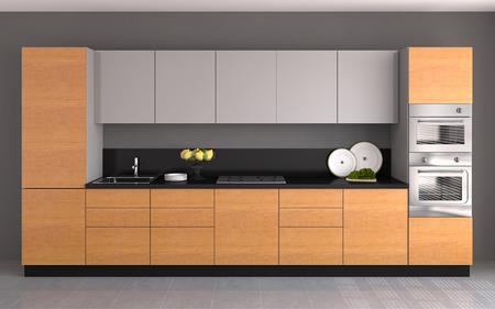 Interior of modern  kitchen. 3d  render. Banco de Imagens