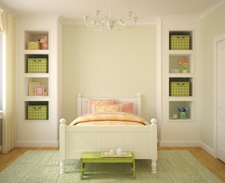 Colorful playroom interior. 3d render. photo