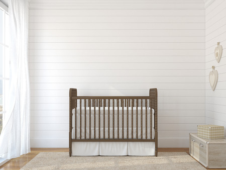 Interior of nursery with vintage crib. Stock Photo