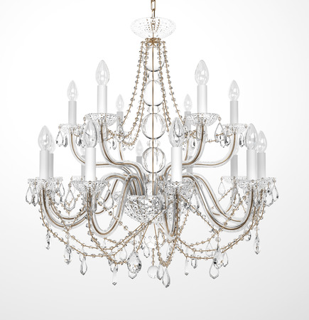 crystals: Luxury Glass Chandelier on white background